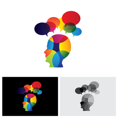assumption: concept of colorful face with puzzles, questions, doubts, ideas. The vector graphic also represents a person icon with talk signs indicating imagination, ideas, opinions, dreams, thoughts, etc