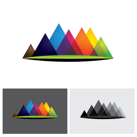 abstract colorful vector logo icon of hills & mountain ranges & grassland. The vector graphic is made of many pyramid shaped hillocks and green land at the bottom Illustration