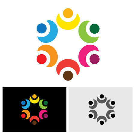 school meeting: colorful children playing in circle - school concept vector icon. This abstract graphic represents diversity & unity, social community network, kindergarten kids, employee teams in meeting, etc