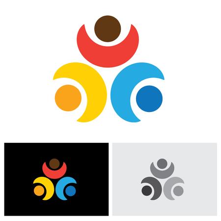 companionship: Concepto del vector del icono de la amistad - tres amigos juntos. Este gr�fico tambi�n puede representar a los ni�os jugando, los ni�os en el ocio, la vinculaci�n y relaci�n, la infancia y el compa�erismo