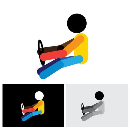 taxista: Coche, vehículo o automóvil icono del controlador o símbolo - vector gráfico. Esta plantilla muestra un icono de taxista con la mano que sostiene la dirección Vectores