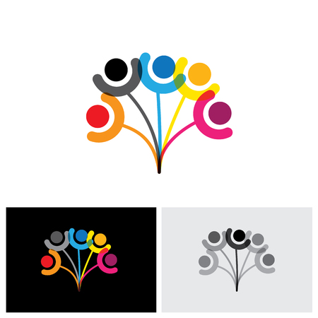 Concept vector icon of family tree showing bonding & relationship. This graphic can also represent friendship, togetherness, trust & hope, etc