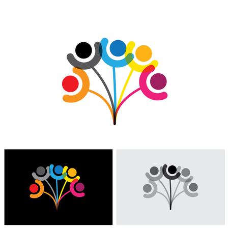 arbol genealógico: Concepto del vector del icono del árbol genealógico que muestra la unión y relación. Este gráfico también puede representar amistad, unidad, confianza y esperanza, etc. Vectores