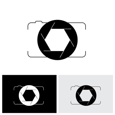 dslr: abstract digital camera & shutter icon outline front view. This vector graphic is simple vector representation of trendy photographic tool for taking photos & videos