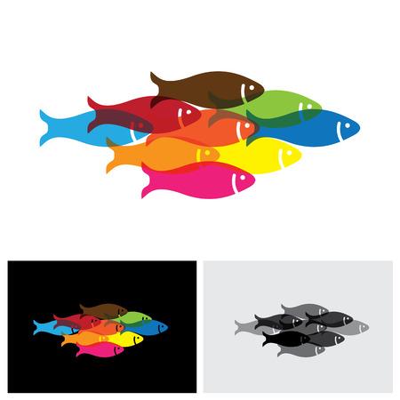 fish icon, fish icon vector, fish icon 10, fish icon sign, fishes icon, colorful fish icon, sea fish icon, fresh water fish icon, unity icon, group icon, community icon, fish school, fish Ilustrace