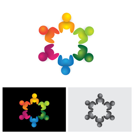 people in circle, community or team of kids, employees vector icon. This graphic illustration also represents unity, teamwork, leadership, leader qualities, joy, happiness, excitement & euphoria