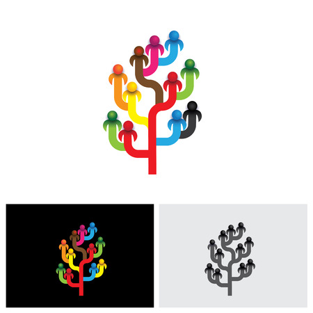 concept tree of company employees working together as a team vector icon. This also represents the structure of a company with people, relationship between close circle of family members