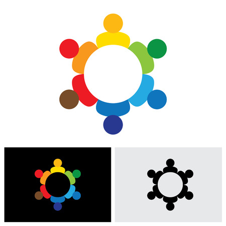 happy business team: employees business meeting or brainstorming - vector icon. This graphic also represents harmony, balance, kids & children, community, company meeting, brainstorming, solidarity, togetherness