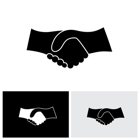 Concept vector graphic icon - business hand shake in black & white. This handshake icon can also represent new partnership, friendship, unity and trust, greeting & gestures, etc
