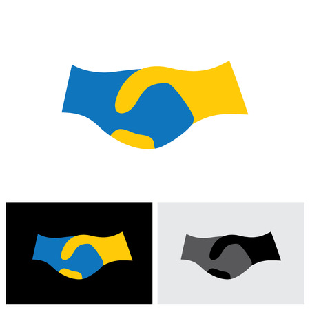 vector icon of hand shake - symbol of trust, partnership & friendship. This handshake icon can also represent new partnership, business deals, unity and trust, greeting & gestures, etc Ilustrace