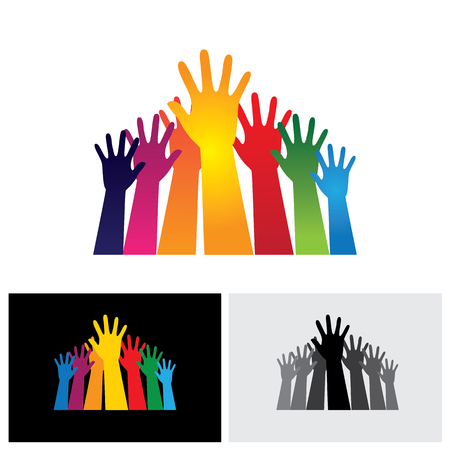 Colorful abstract hand vectors icons raised together showing unity. This also represents happy children playing, people at party, people asking help, employees protest and demonstration, etc