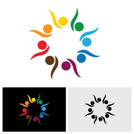 begeistert, aufgeregte Kinder oder Kinder spielen - Konzept Vektor-Symbol. Die Abbildung zeigt auch Konzepte wie Teamwork, Teamgeist, Kooperation, Allianz, Kleben, Engagement, Interaktion