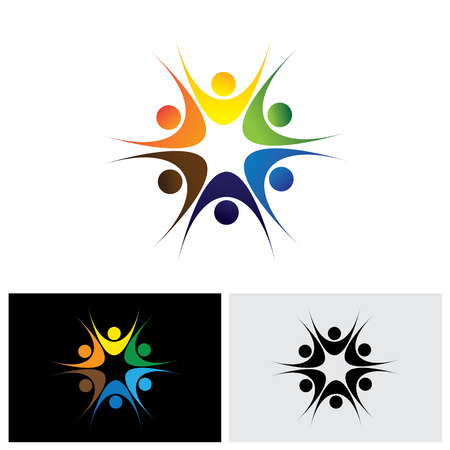 happy employees: concept of close group of people as a happy lively community - vector icon. this also represents excited people, people dancing, school children or kids playing, colorful employees in circle Illustration