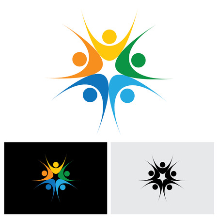 happy employees: concept of close group of people as a happy lively community - vector icon. This also represents excited people, people dancing, school children or kids playing, colorful employees in circle