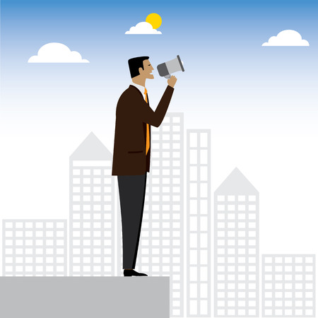 businessman or executive making an announcement - vector graphic. this also represents advertising, warning, announce, speaking, shouting, calling, announcing through megaphone, announcing alarm, warn