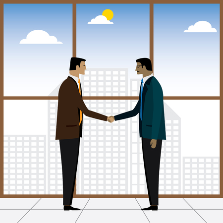 mergers: two businessmen or executives handshake for partnership - vector graphic. this also represents business deals, corporate alliances, mergers and acquisitions, formal hand shakes, respect, friendship