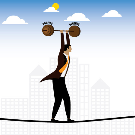 grit: businessman or executive walking on tightrope balancing revenue & profits - vector graphic. this also represents persistence & hardwork, job difficulties, career struggles, risk and reward, grit