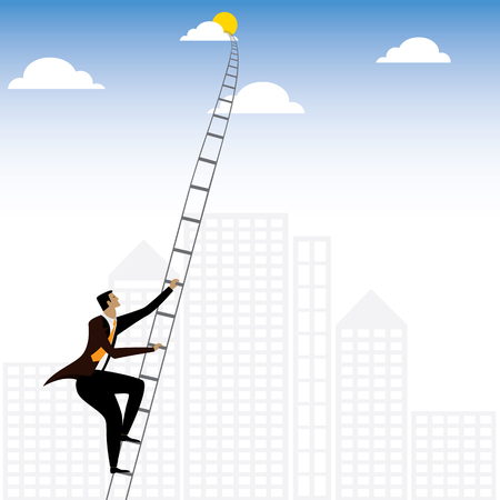 persistence: businessman or executive climbing stairs to sky - vector graphic. this ladder graphic also represents concepts like determination & tenacity, persistence & hardwork, ambition & aspiration, drive