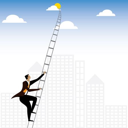 homme d'affaires ou un escalier d'escalade exécutif à ciel - graphique vectoriel. ce graphique de l'échelle représente également des concepts tels que la détermination et la ténacité, la persévérance et travail acharné, l'ambition et l'aspiration, entraînement
