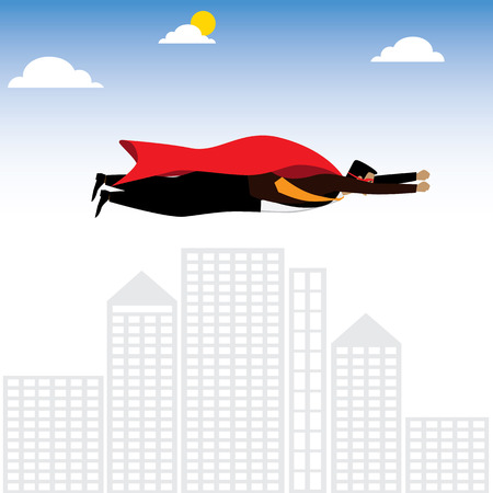 achiever: businessman or executive as a superhero or superman - vector graphic. this also represents winning strategy, business success, motivation and inspiration, power & enegry, ambition & aspiration Illustration