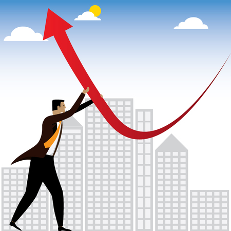 businessman or executive trying to change the business performance - vector graphic. this also represents innovative solutions, transforming, bringing profits, problem solving, winning strategy Illustration