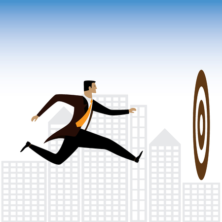 goal achievement: businessman or executive trying to achieve targets - vector graphic. this also represents determination, goal orientation, purpose, responsibility & duty, focus & achievement, ambition & aspiration Illustration