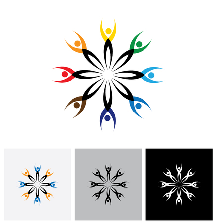 in common: colorful abstract vector logo icon of people connected together. this graphic also represents communities collaborating as team for common good and society peace and universal harmony