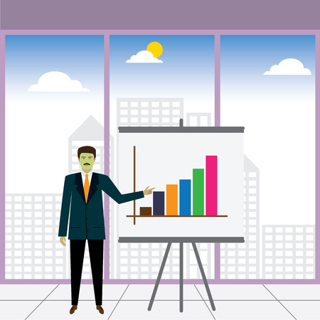 sharing information: businessman or executive showing increasing profits - vector graphic. this also represents business presentation, teaching, public speaking, sharing information, financial performance, business report
