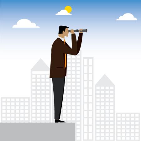 percepción: visionario empresario o ejecutivo mirando a través de binoculares - gráfico vectorial. esto también representa la previsión, la visión, de cara al futuro, las expectativas positivas, visión para los negocios, el liderazgo, la percepción