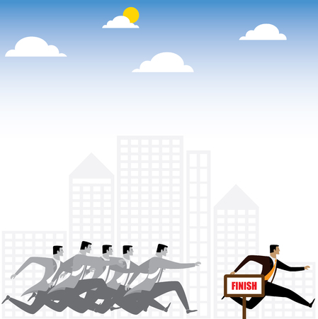 rivalry: businessman or executives having a race - vector graphic. this also represents winning strategy, business success, motivation and inspiration, rat race, competition, rivalry & office politics Illustration