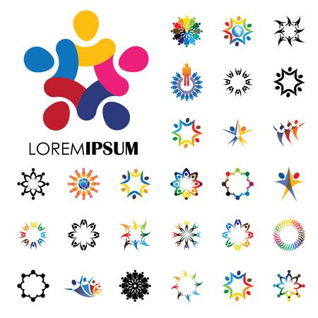 Vector de la insignia iconos de la gente - signo de unidad, colaboración. esto también representa comunitario, la participación y la interacción, el trabajo en equipo y del equipo, niños jugando, diversión niños, empleados y personal, oficina, etc.