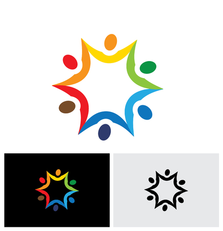 people connected: colorful abstract vector logo icon of people connected together. this graphic also represents communities collaborating as team for common good and society peace and universal harmony