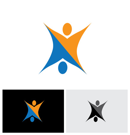 routines: people together doing fitness and health routines like exercises and aerobics - vector logo icon Illustration