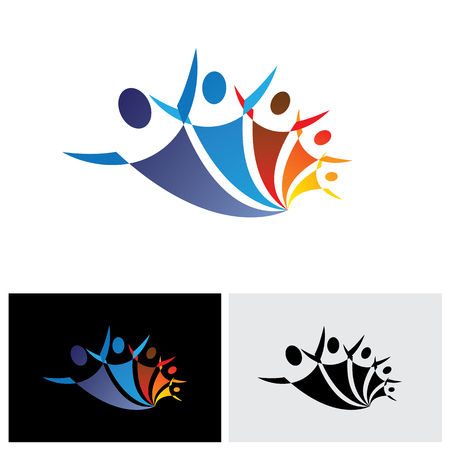 colorful vector icon of people together being positive and happy. the graphic represents symbols or signs of people as a community or friends or social network