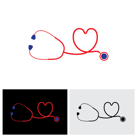 care symbol: vector icon of medical diagnostic tool - stethoscope and heart symbol. The illustration also represents conceptually the doctors care for health of heart with the equipment Illustration