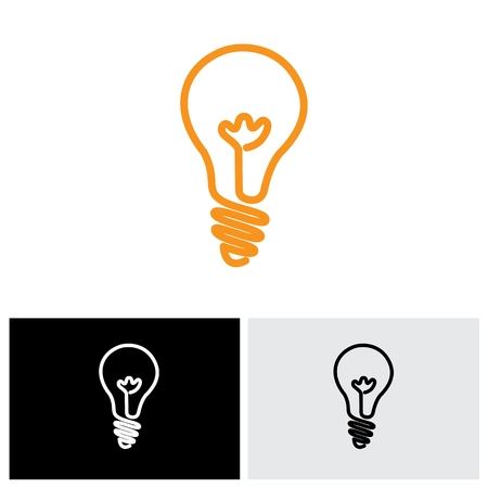 creativity: incandescent simple black line light bulb vector icon symbol graphic. The illustration can also represent an idea or solution or human creativity and inventiveness Illustration