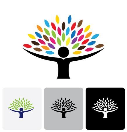 humain icône vie logo de résumé, vecteur, les gens de l'arbre. cette conception représente, embrasser, étreinte, amical, l'éducation, l'apprentissage, la technologie verte, une croissance durable écologique verte et développement