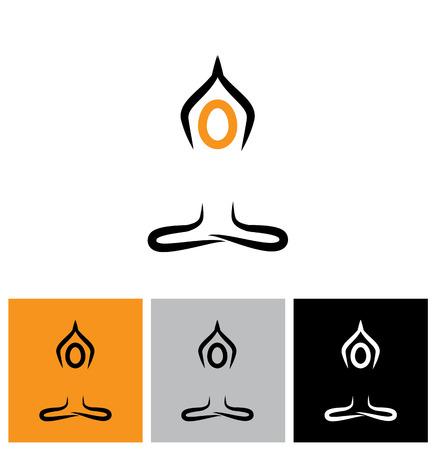 ベクトルのロゴ アイコンの人が瞑想とヨガを行います。これはまた、神、神、精神修行などを崇拝する宗教的な祈りをしている人を表します