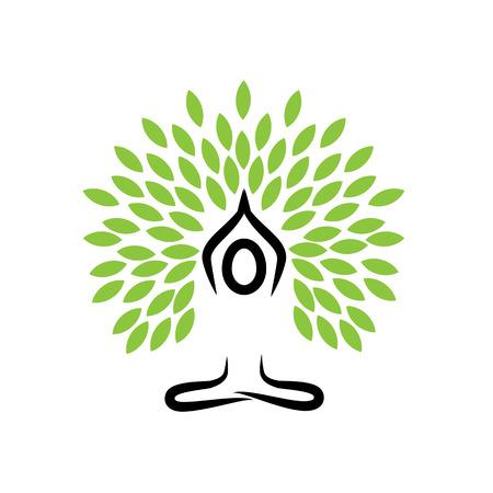mensen het leven boom doen meditatie, yoga en gebeden - vector logo icoon