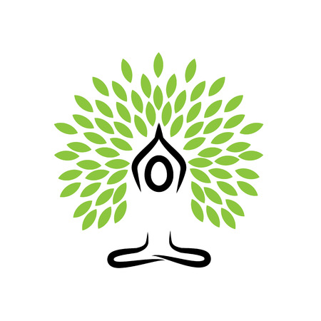 balance life: people life tree doing meditation, yoga and prayers - vector logo icon Illustration