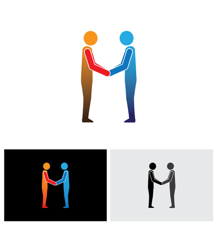 shakes: Corporate executives, businessmen or friends greeting hand shake - handshake vector icon Illustration