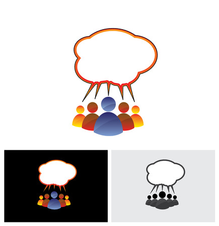sharing information: colorful vector icon of people chatting, talking, communicating. The also represents community of people sharing information or communicating online using social media or general conversation, etc
