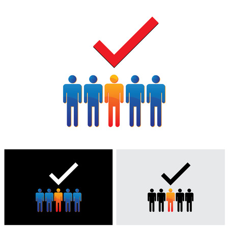 worker person: vector graphic - selecting or hiring right employee, worker, candidate. The graphical illustration shows the employable and suitable for job person with a check or tick mark Illustration