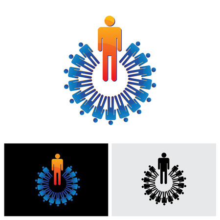 employer: colorful abstract illustration leader and followers - vector graphic. The graphic also represents concepts like employer and employee, manager and worker, leadership, office setup, meeting, etc