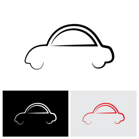simplistic icon: stylish family car abstract sign or symbol - vector logo icon.
