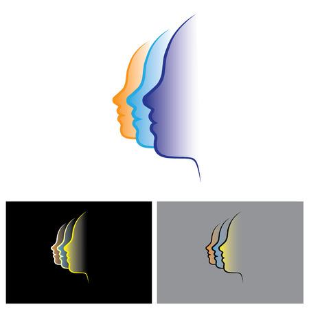 visage profil: vecteur logo icône du visage de 3 femmes