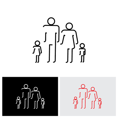 four people: Family of four people abstract icons using abstract line drawing - vector icon. The symbols are of father, mother, son & daughter in black colored lines