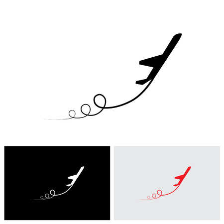 vector icon of airplane icon take off showing its path & in high speed. This illustration can also represent silhouette symbol of a military jet speeding up in the sky