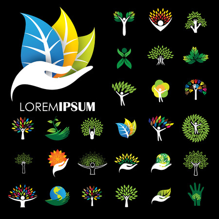 human life logo icons of abstract people tree vectors. this design also represents eco friendly green, embracing, hug, friendly, education, learning, green tech, growth, peace, balance Illustration