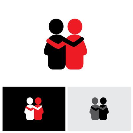 amicizia: vettore icona logo di amicizia, la dipendenza, l'empatia, l'incollaggio. questo rappresenta anche concetti come la responsabilità, la preoccupazione, la cura, insieme, la simpatia, la fiducia, la fede, la speranza e aspettativa, garanzia